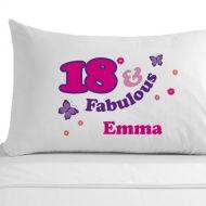 Personalised 18 and Fabulous Pillowcase