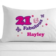 Personalised 21 and Fabulous Pillowcase