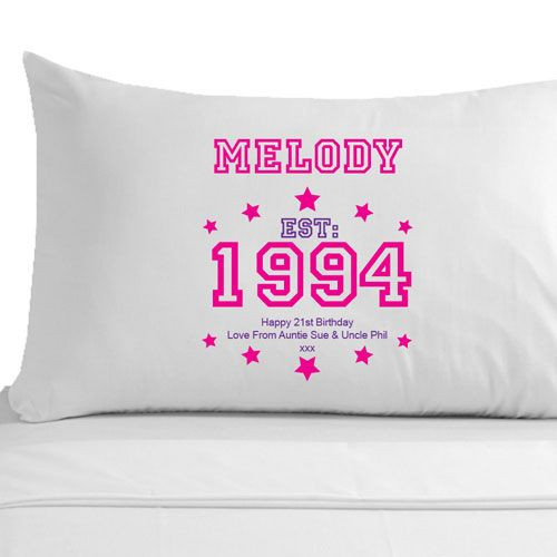 Personalised 21st Birthday Established Year Pillowcase For Her