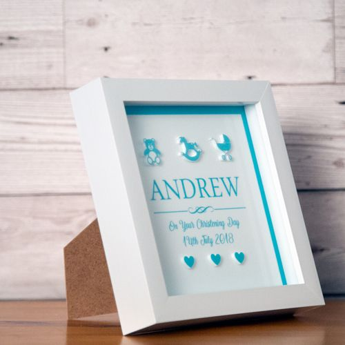 3D Christening Box Frame for a Baby Boy