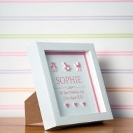 3D Christening Box Frame for a Baby Girl