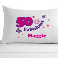 Personalised 50 and Fabulous Pillowcase