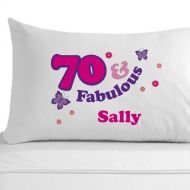 Personalised 70 and Fabulous Pillowcase