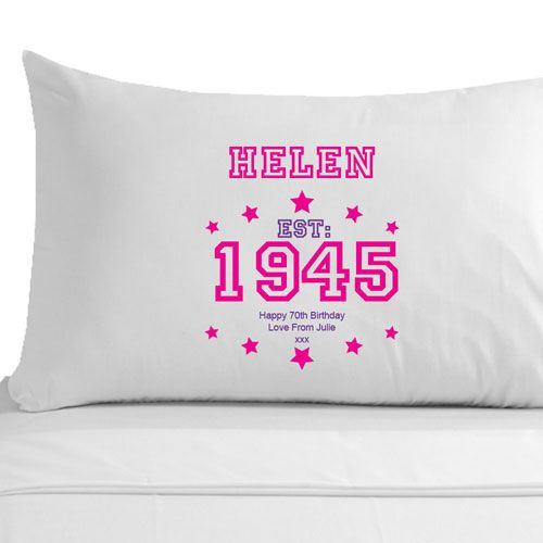 Personalised 70th Birthday Pillowcase