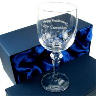 Engraved Wedding Anniversary Wine Glass for Him