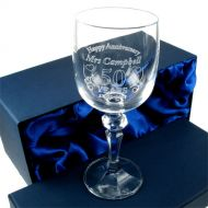 Engraved Wedding Anniversary Wine Glass for Her