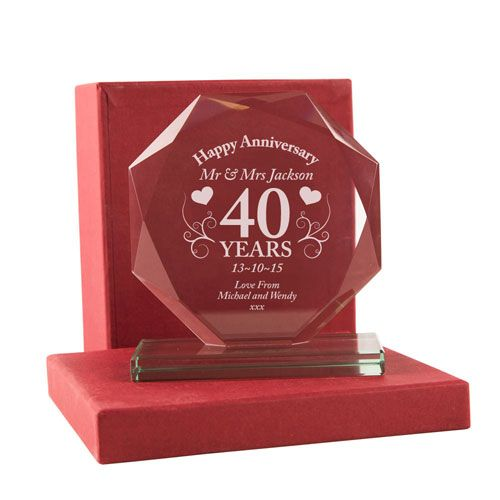 Personalised 40th Anniversary Cut Glass Gift | 40th Anniversary Gift Ideas | Engraved Anniversary Glassware