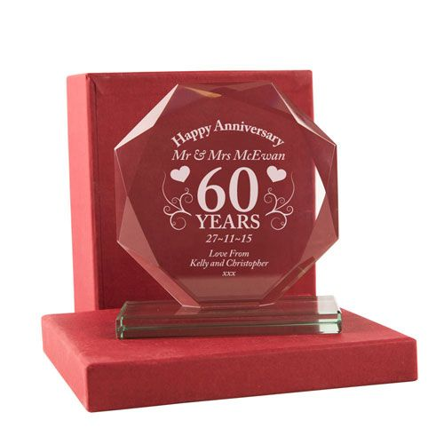 Personalised 60th Anniversary Cut Glass Gift 60th Anniversary Gift Ideas Engraved Anniversary Glassware