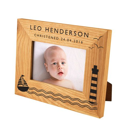 Boat & Lighthouse Oak Photo Frame