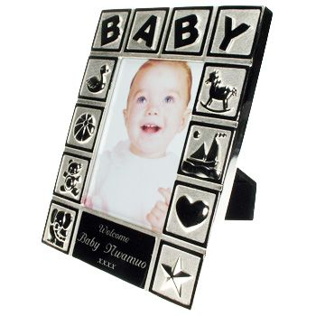Baby Photo Frame Engraved Newborn Baby Gift Silver Plated Baby Gift