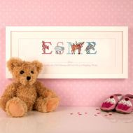 Baby Birth Illustrated Phonetic Name Frame