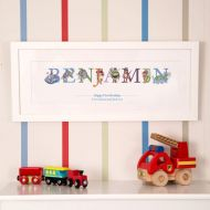 First Birthday Phonetic Illustrated Name Frame