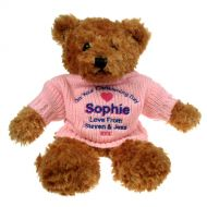 Brown Christening Teddy Bear for Her