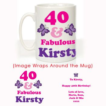 40th BIRTHDAY 40 and Fabulous Butterfly Personalised Mug//Coaster//Set   PINK