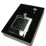 Personalised 21st Birthday Hip Flask Gift Set