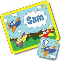 Aeroplane Design Placemat and Coaster Set