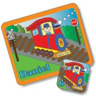 Train Design Placemat and Coaster Set