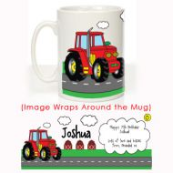 Red Tractor Message Mug