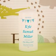 Boy Bunting Christening Candle