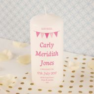 Girl Bunting Christening Candle