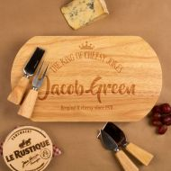 King of Cheesy Jokes Personalised Oval Cheeseboard