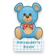 Blue Teddy Bear Door Plaque