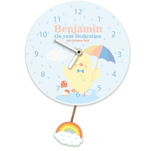 Baby Boy Personalised Any Occasion Wall Clock. Baby Chic Splashing in Rain