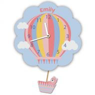 Customised Pink Hot Air Balloon Wall Clock