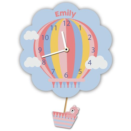 Customised Pink Hot Air Balloon Wall Clock