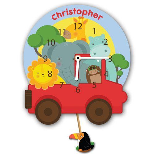 Personalised Safari Childs Wall Clock