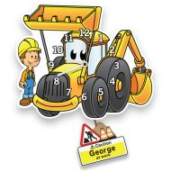 Yellow Digger Boys Wall Clock