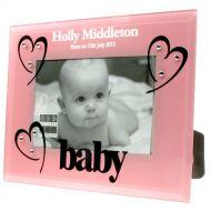 Pink Glass Baby Girl Birth Photo Frame