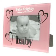 Pink Glass Christening Photo Frame
