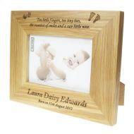 Engraved Oak Baby Photo Frame
