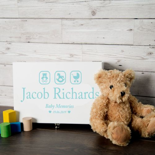 Blue Baby Boy Memory Box with Teddy, Rocking Horse and Pram