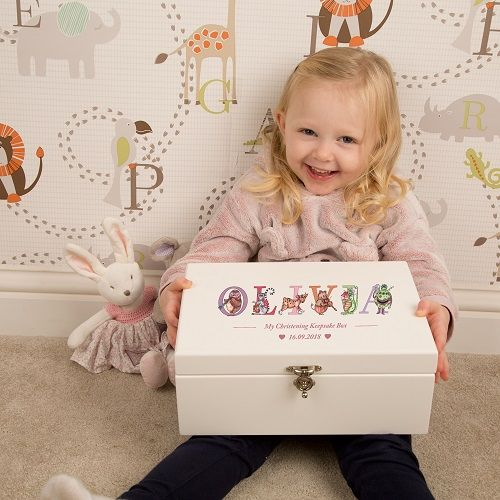 Christening Keepsake Box for Baby Girl
