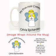 Personalised First Holy Communion Mug: Angel Design