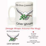 Personalised First Holy Communion Mug: Dove Design