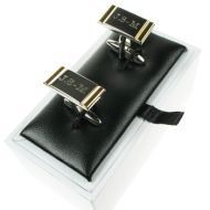 Engraved Cufflinks 2 Tone Silver and Gold