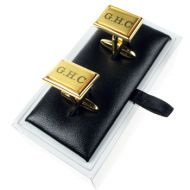 Engraved Brushed Golden Cufflinks