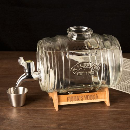 Barrel Drinks Dispenser with Engraved Stand