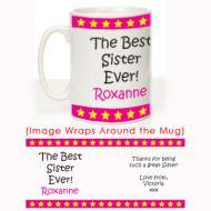 Personalised Best Sister Ever Mug: Stars Design