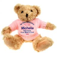 Light Brown Graduation Teddy Bear: Pink Jumper