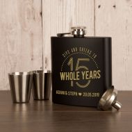 Laser Engraved 15th Wedding Anniversary 6oz Steel Hipflask
