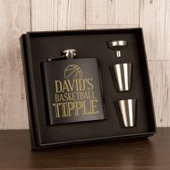 Personalised Basketball Design Hipflask Gift Set