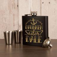 Sailing Themed Personalised Engraved 6oz Hipflask Gift Set