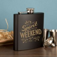 Customised Spirit of the Weekend Hip Flask Gift Set