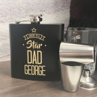 Personalised Star Dad Hip Flask