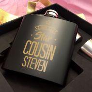 Customised Star Cousin Black Hip Flask Set
