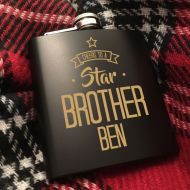 Personalised Cheers to a Star Brother Hip Flask